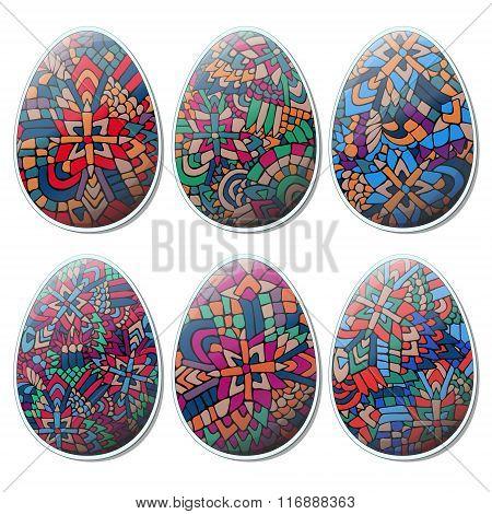 Easter Zentangle Eggs Set Tribal Abstract 1