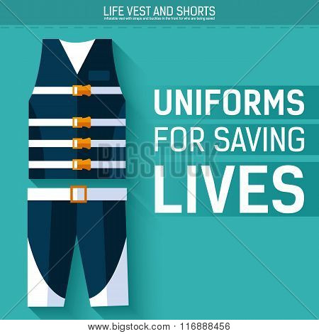 Uniform for saving lives. Vector icon illustration background. Colorful template for you design, web