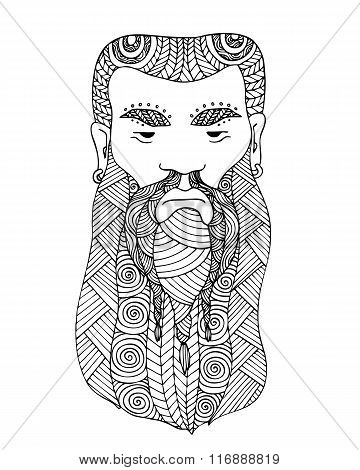 Adult Coloring Book Page Design With The Face Of A Viking