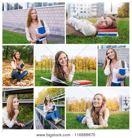 Photo Collage Of Student At Campus