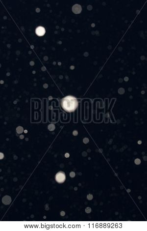 Natural Falling Snow Shower At Night