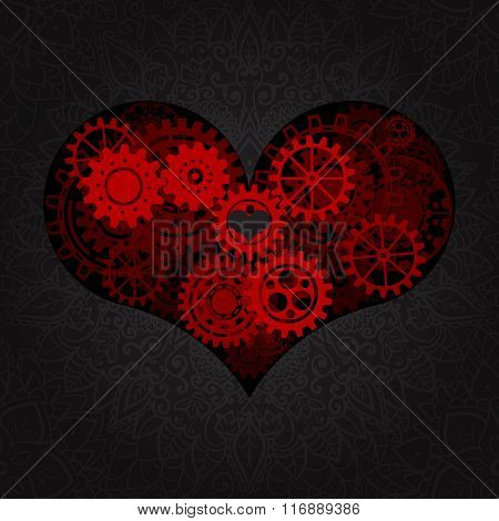 Heart as a mechanism made of cogs and gears. Vector Illustration  of steampunk heart. Valentines day