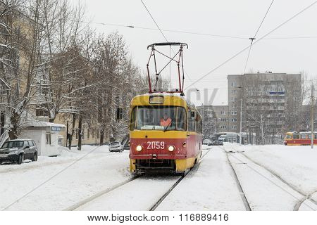 Yellow Winter Tram And Snow In Russian Winter