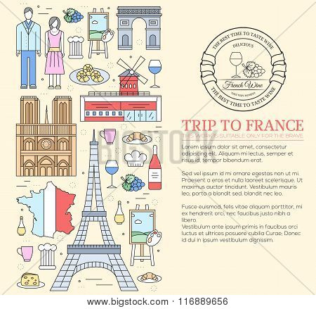 Country France trip guide of goods, places in thin lines style design. Set of architecture, fashion,