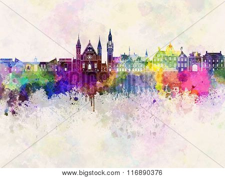 The Hague V2 Skyline In Watercolor Background