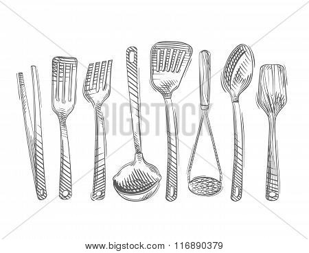 Cooking. Hand-drawn set of kitchen tools