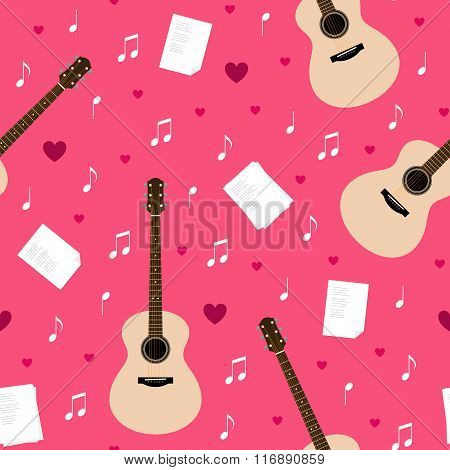 Vector Seamless Pattern With Guitars, Lyrics, Notes And Hearts
