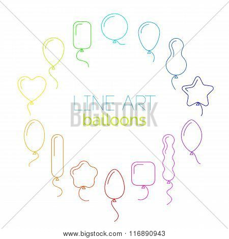 Vector Thin Line Icon Set Of Rainbow Balloons Of Different Shapes