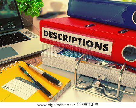Red Office Folder with Inscription Descriptions.