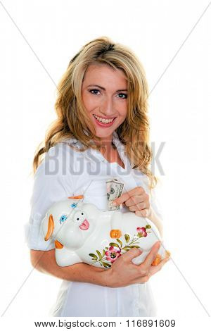 woman with dollar bills and piggy bank