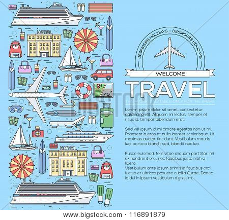 Tourism circle concept design. Holiday vacation vector elements. Flat trip thin lines style icons il