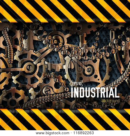 mechanical realistic rusty gears attention behind danger warning attention tape. Vector illustration