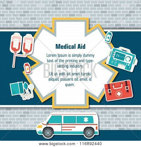 Ambulance rescue elements on brick wall background poster in sticker style design. Vector illustrati