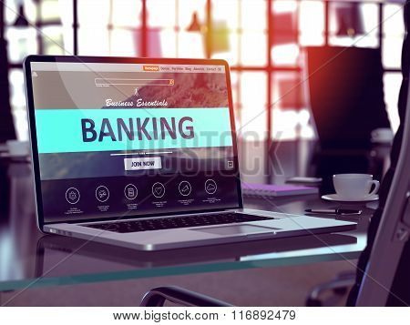 Banking Concept on Laptop Screen.