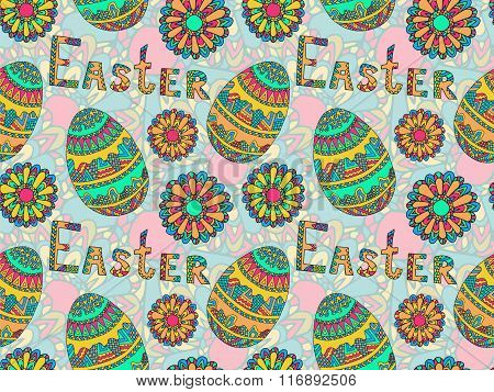 Easter Zentangle Eggs Ethnic Native Abstract Pattern 2