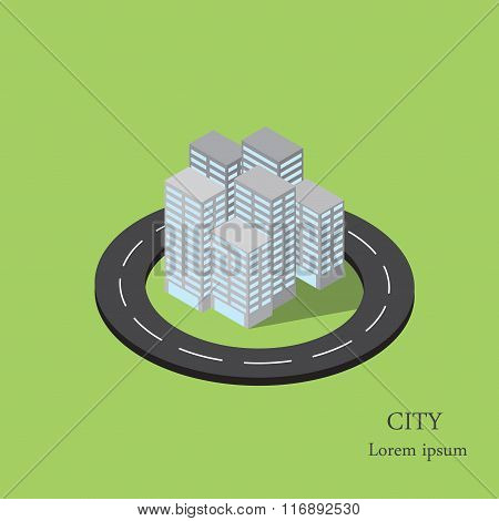 Vector isometric city inside the ring road.
