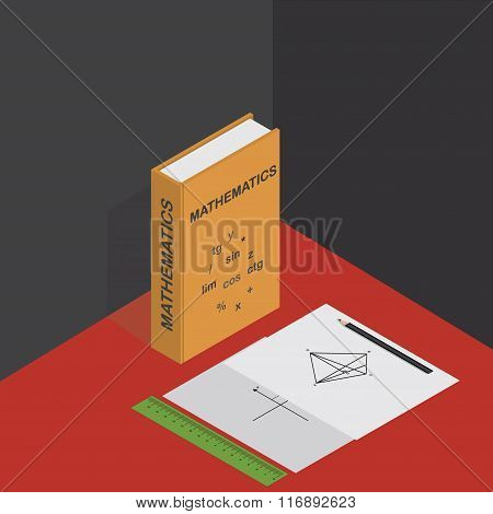 Vector isometric illustration with math graphs, ruler, pencil and textbook on mathematics.