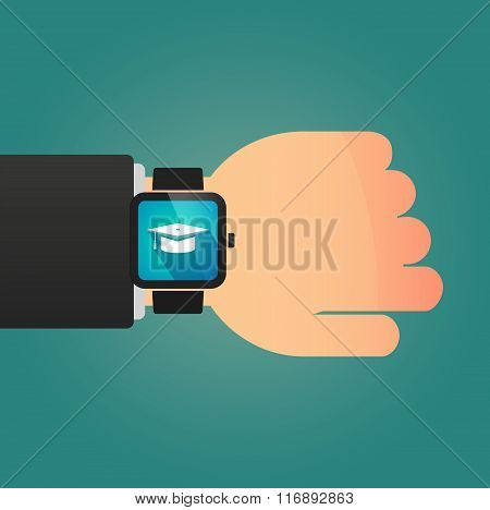 Man Showing A Smart Watch With A Graduation Cap