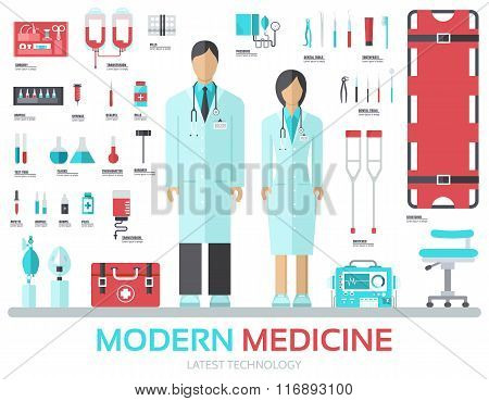 Modern medical equipment in flat design background concept. Infographic elements set with doctor and