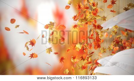 falling and winding Autumn Leaves with curtains background