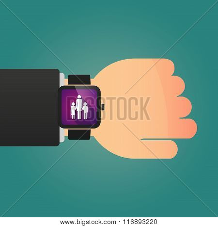 Man Showing A Smart Watch With A Female Single Parent Family Pictogram