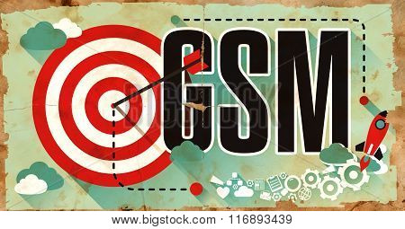 GSM Concept on Grunge Poster.