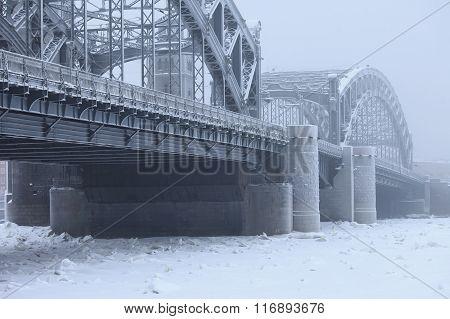 Bolsheokhtinsky bridge in the winter fog, Saint Petersburg Russia