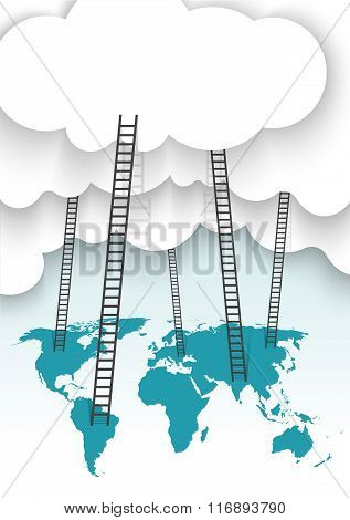 a competition concept, clouds with ladders and world map
