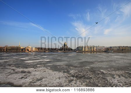St. Isaac's Cathedral view across Neva River in winter