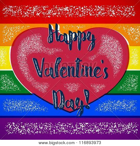 Rainbow gay themed Valentines Day card with shifted colors