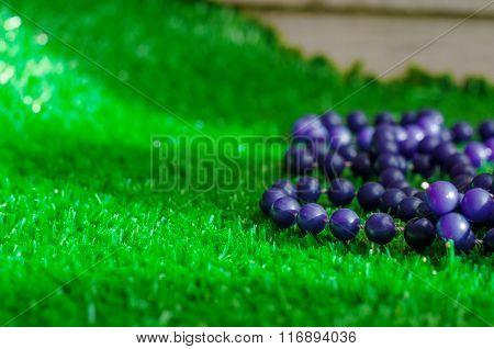 Purple Beads On Green