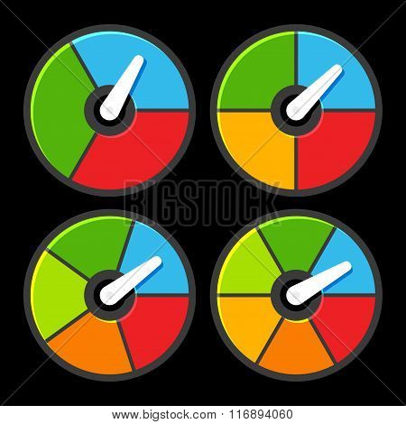 Circle Color Indicators Power Meter Set. Vector
