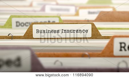 Folder in Catalog Marked as Business Insurance.