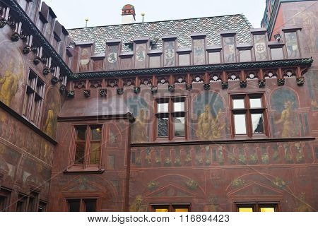 BASEL SWITZERLAND - JANUARY 1 2014: Fragment of the interior of Town Hall in Basel. Basel is a third most populous city in Switzerland. Basel Town Hall is an old building in the Marktplatz in Basel