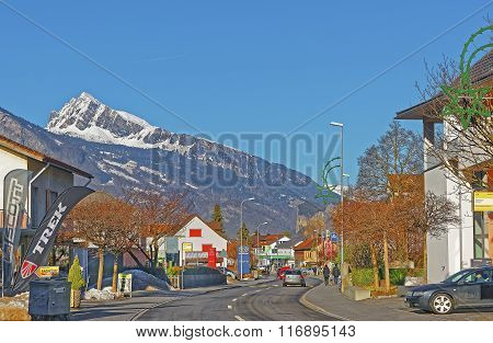BAD RAGAZ SWITZERLAND - JANUARY 5 2015: Street view on the Alps in the City. Bad Ragaz is a city in the St. Gallen in Switzerland over Graubunden Alps. Spa and recreation is at end of Tamina valley