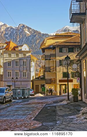 Street view of the Alps in the City of Bad Ragaz. Bad Ragaz is a city in canton St. Gallen in Switzerland. It lies over Graubunden Alps. Spa and recreation village is at end of Tamina valley