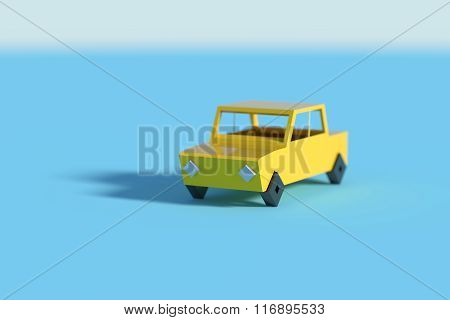 Yellow Car Casting Shadow On Blue Background