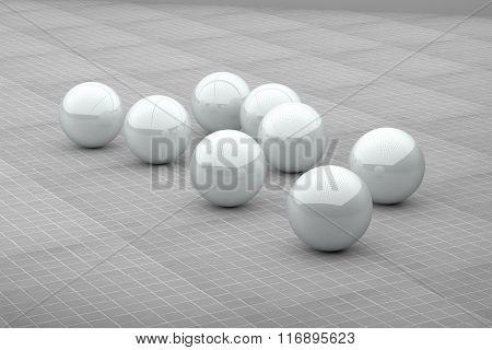 Several White Futuristic Balls On Ceramic Floor