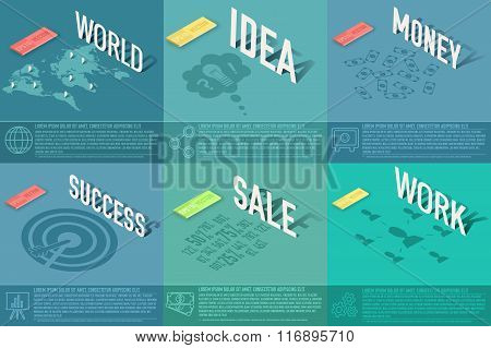 set of perspective world, idea, sale, success, work, money business card background concept. Vector