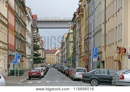 Prague, Czech Republic - April 21, 2010: Nusle Bridge In Prague - Concrete Viaduct In Prague, Passin