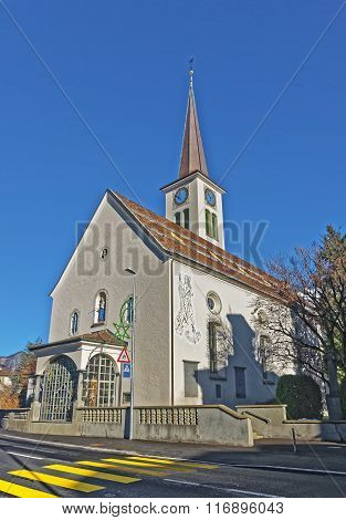 Catholic Church in Bad Ragaz. Bad Ragaz is a city in canton St. Gallen in Switzerland. It lies over Graubunden Alps. Spa and recreation village is at end of Tamina valley
