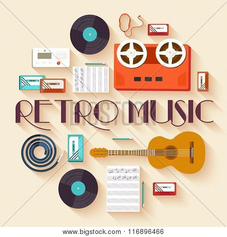 Retro equipment music set circle infographics template concept. Icons design for your product or des