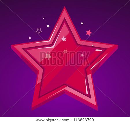 Vector Illustration Of Big Red Star On Purple Background.