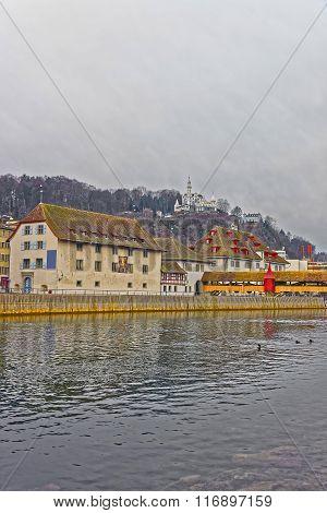 Embankment Of The Aare River In Solothurn Of Switzerland