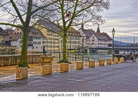 Embankment Of The Aare River In Solothurn In Switzerland