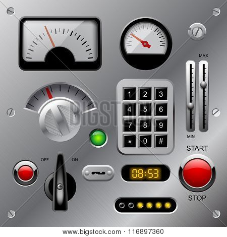 Set of meters, buttons and other machinery parts on metallic dashboard panel. Vector illustration