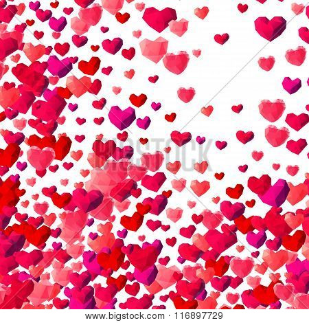 Valentines Day background with scattered triangle hearts