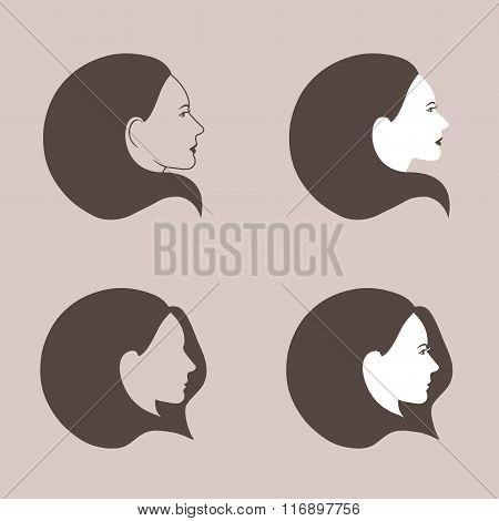 Woman fashion icons set