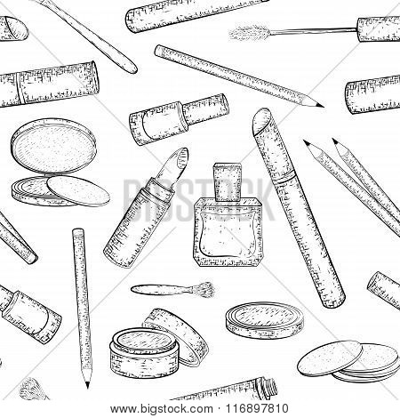 Seamless pattern with hand drawn cosmetics collection