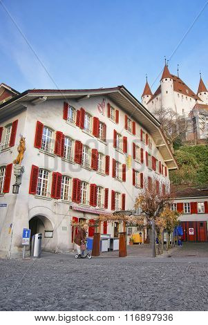 Thun Castle over City Hall Square in the Old City of Thun. Thun Castle is a Castle Museum in the Thun city in Swiss canton of Bern where the Aare river flows out of Lake Thun.